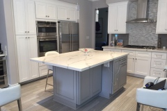 White Shaker and Greige Maple Kitchen Cabinet