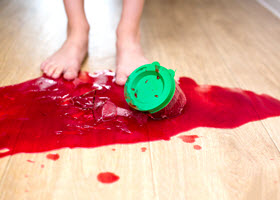 Sauce Spread Over Kitchen Floor