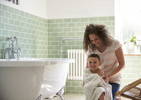 Kid & Mom in Bathroom