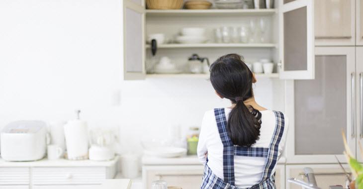 Lady Thinking About Kitchen Renovation