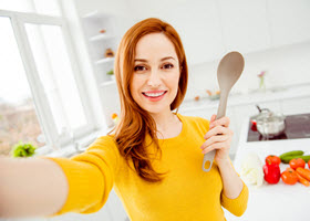 Happy Lady in Kitchen